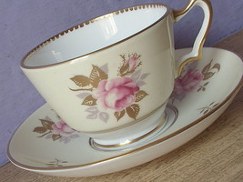 Vintage Crown Staffordshire English bone china pink rose tea cup teacup - $38.61