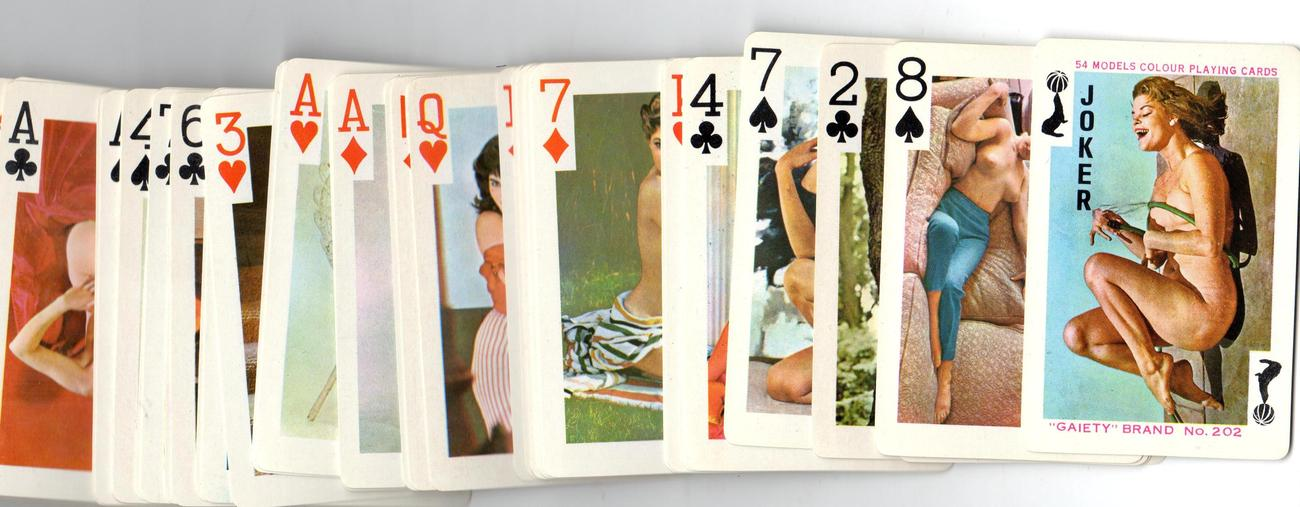 "Gaiety Brand  ""54  NUDE Models"" Color Playing Cards"