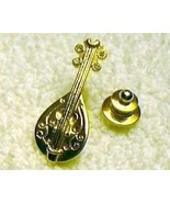 j89 Mandolin Pin Tie Tac Gold Tone with Rhinest... - $4.98