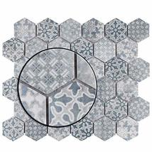 """SomerTile FTC2MDBL Medley Hex Porcelain Mosaic Floor and Wall, 11.125"""" x 12.625"""" image 3"""