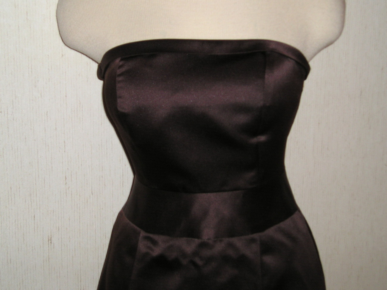 ARIA Brown Strapless Satin Look Lined Cocktail or Bridesmaid Dress  Sz 2  4 EUC