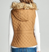 Camel Puffer Vest, Quilted Puffer Vest, Quilted Vest w Faux Fur Hood, Womens S image 2