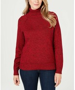 Karen Scott Women's Red Amore Marl Ribbed-Knit Turtleneck Sweater Size X... - $12.51