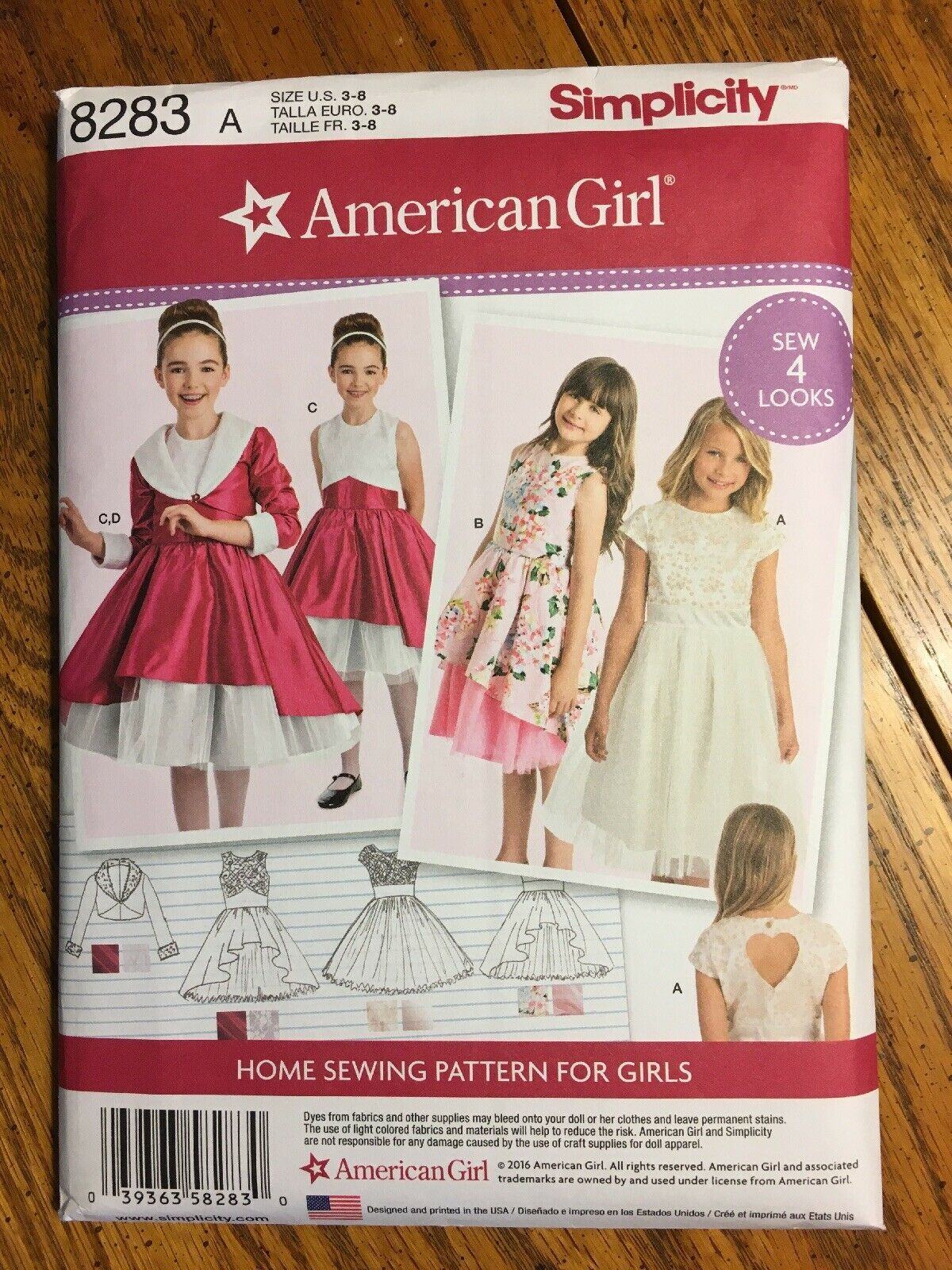 Primary image for Simplicity 8283 American Girl Pattern for Girls Dress Child's Sizes 3-8