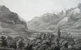 SWITZERLAND View of Altorf - 1820 Antique Print By Major Cockburn - $22.05