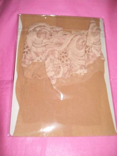 Fantasy Plus Size Sheer Lace Top Stockings: Beige
