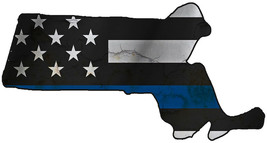Thin Blue Line Police State of Massachusetts Laser CutOut Metal Sign 17W... - $25.74