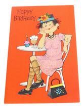 Happy Birthday Ladies Vintage American Greetings Card Glitter Cupcake Ca... - $4.50