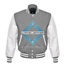 Top College Letterman Varsity Grey Wool Jacket/ White Real Leather Sleev... - $88.99