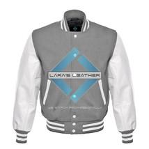 Top College Letterman Varsity Grey Wool Jacket/ White Real Leather Sleev... - $88.99