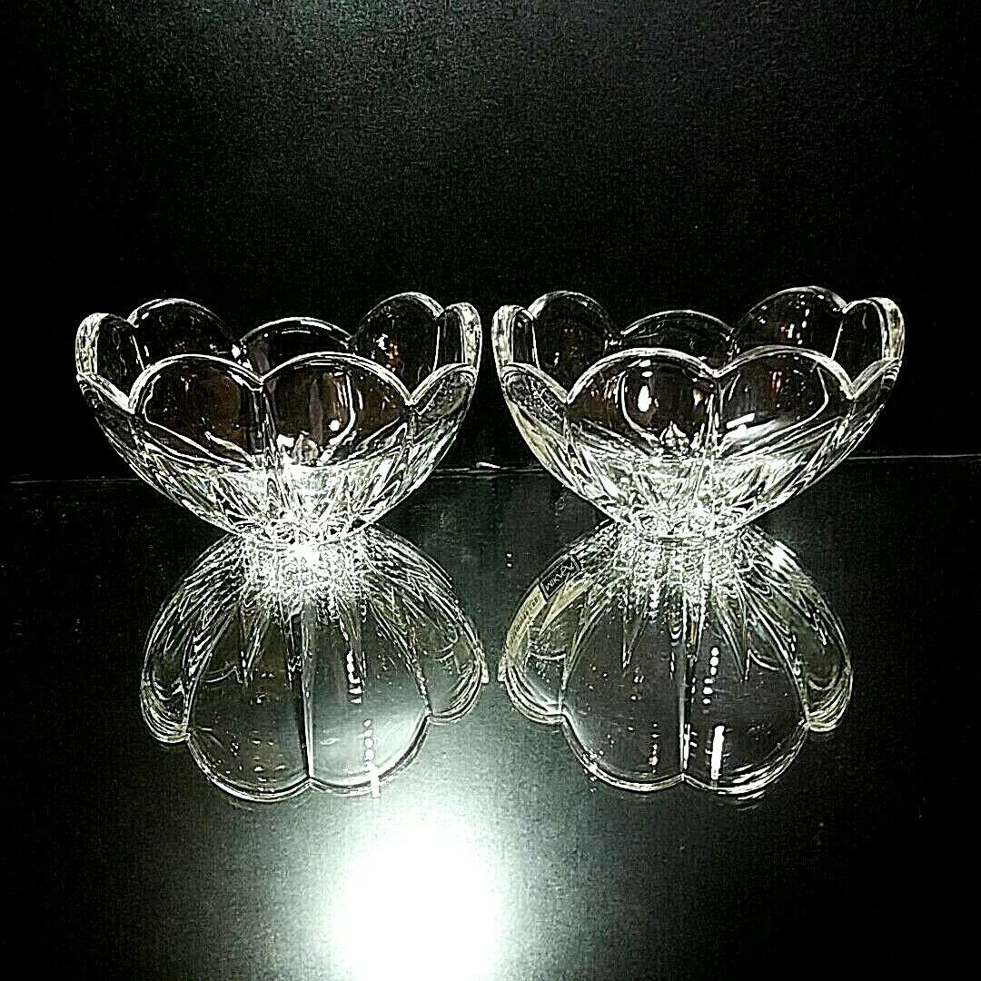 "2 (Two) MIKASA ICICLES Cut Lead Crystal Bowls 5"" DISCONTINUED PATTERN"