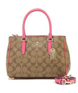 NWT COACH  Mini Surrey Carryall Crossbody Bag Signature Canvas Pink Ruby... - $123.42
