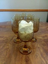 Set of 8  Libbey Americana Amber   Embossed Drinking Wine Glasses/ Goblets MINT - $42.00