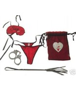 Jolie Lingerie 5 Piece Fantasy, Roleplay, Cuffs, Bachelorette, Whip Set - $23.95