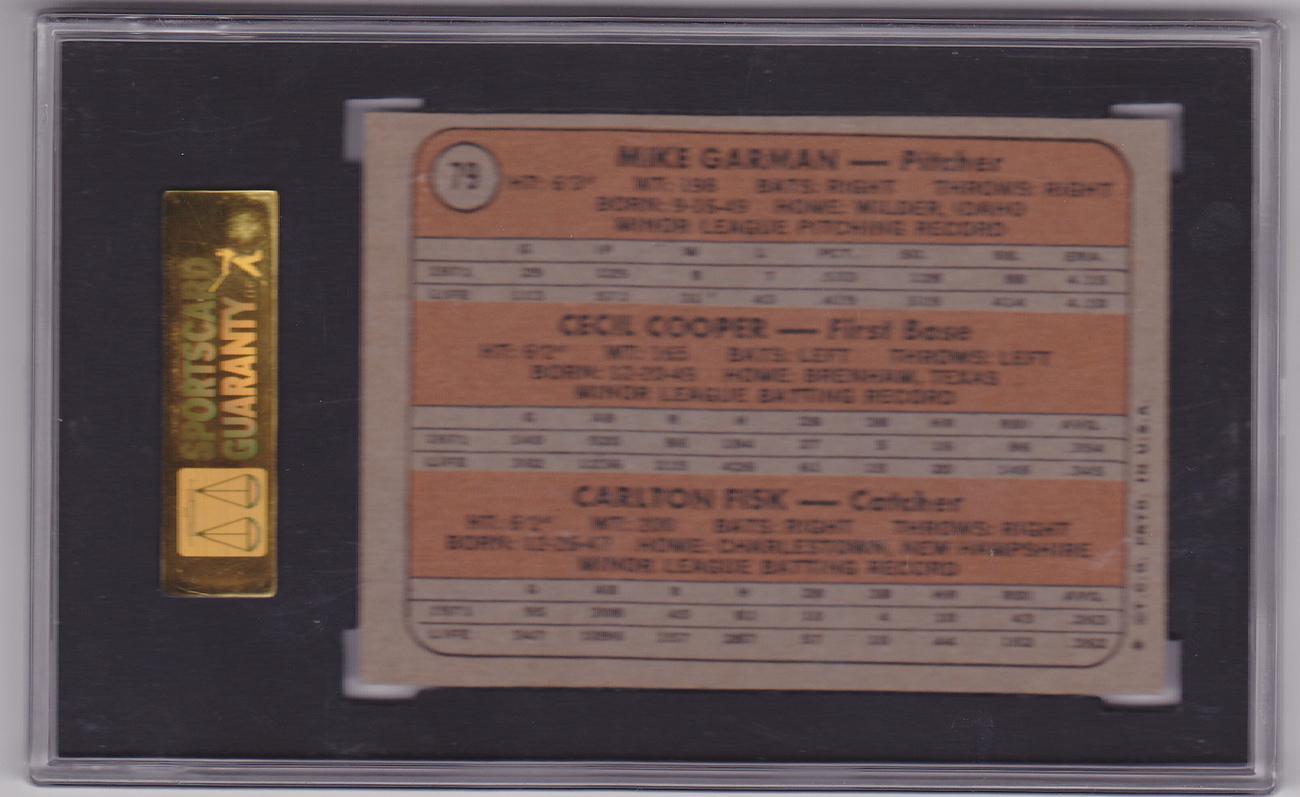 Carlton Fisk 1972 Topps #79 Rookie Card SGC 60 EX 5