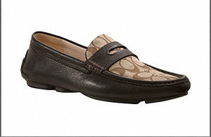 NIB MENS COACH SIGNATURE C BROWN NEAL LOAFER - Size 10.5