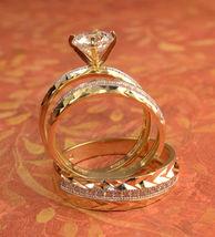 His & Her 14k Yellow Gold Finish 1.20ctw Simulated Diamond Trio Wedding Ring Set - $143.44