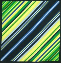 Adrienne Vittadini 100% Silk Scarf Square - Green & Blue Diagonal Stripe - $16.00