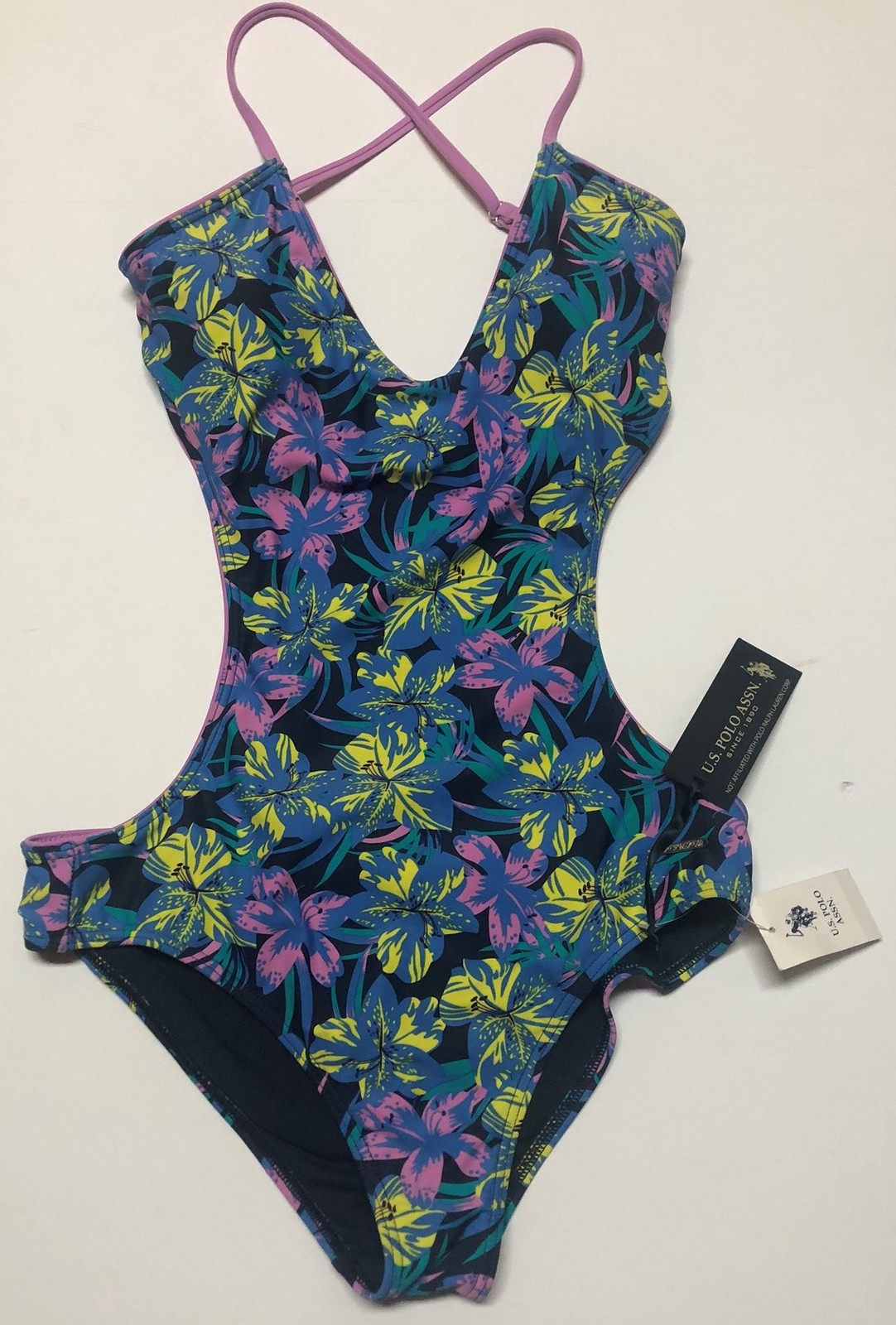U.S. Polo One Piece Swimsuit Floral Open Back Sz M image 2