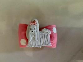 2 Dog Bows Asst  French Clip Attachment Pet Grooming Top Knot  USA - $10.95
