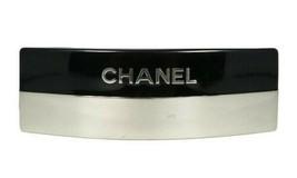 CHANEL Authentic 00A Logo Mirror surface Barrette Hair clip Black X Silv... - $565.99
