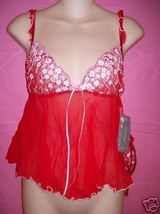Faris Lingerie Red Softcup Mini Floral Babydoll Set, Medium or Large - $26.95