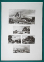 1847 Print Multiple Views - Knaresborough Castle Havre de Grace Mill in ... - $16.20
