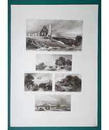 1847 Print Multiple Views - Knaresborough Castle Havre de Grace Mill in ... - $16.20