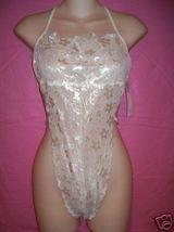 Fantasy Lingerie Elegant Ivory Floral Lace Halter Teddy: One Size - $26.95