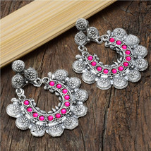 Oxidized handmade pink stone jhumki earring | Indian Jewelry | Bollywood Jewelry - $15.00