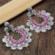 Oxidized handmade pink stone jhumki earring | Indian Jewelry | Bollywood Jewelry - $15.00