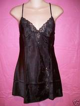 Frederick's of Hollywood Lingerie Satin and Lace Chemise: Black: S, M, L - $26.95