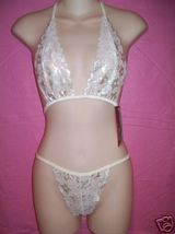 Fantasy Lingerie Beautiful Ivory Floral Bralette & G-String Set: OS - $26.95