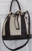 VALENTINA WOMEN'S HAND BAG IVORY/BROWN LEATHER HAND MADE IN ITALY DRAWST... - $344.90