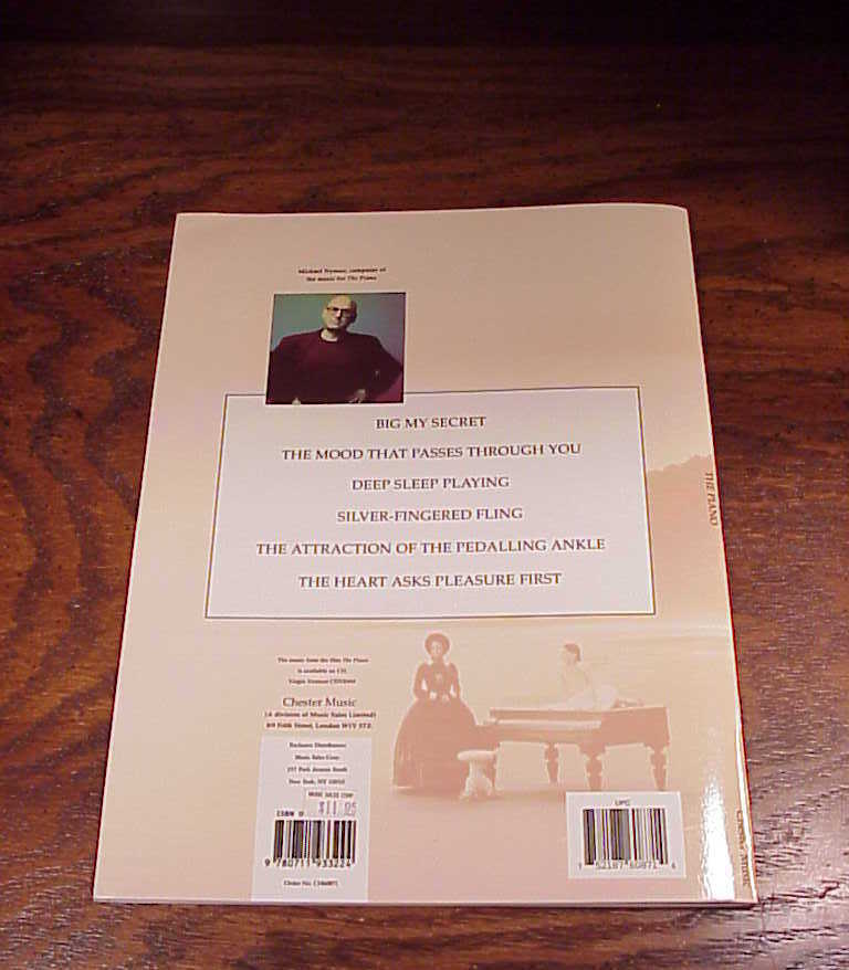 1993 The Piano Movie Song Book, songbook, Michael Nyman, 6 songs
