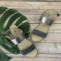 JBU Jambu Womens Myrtle Silver Sandals Size 10 Metallic Leather Low Wedge Heel - $38.60