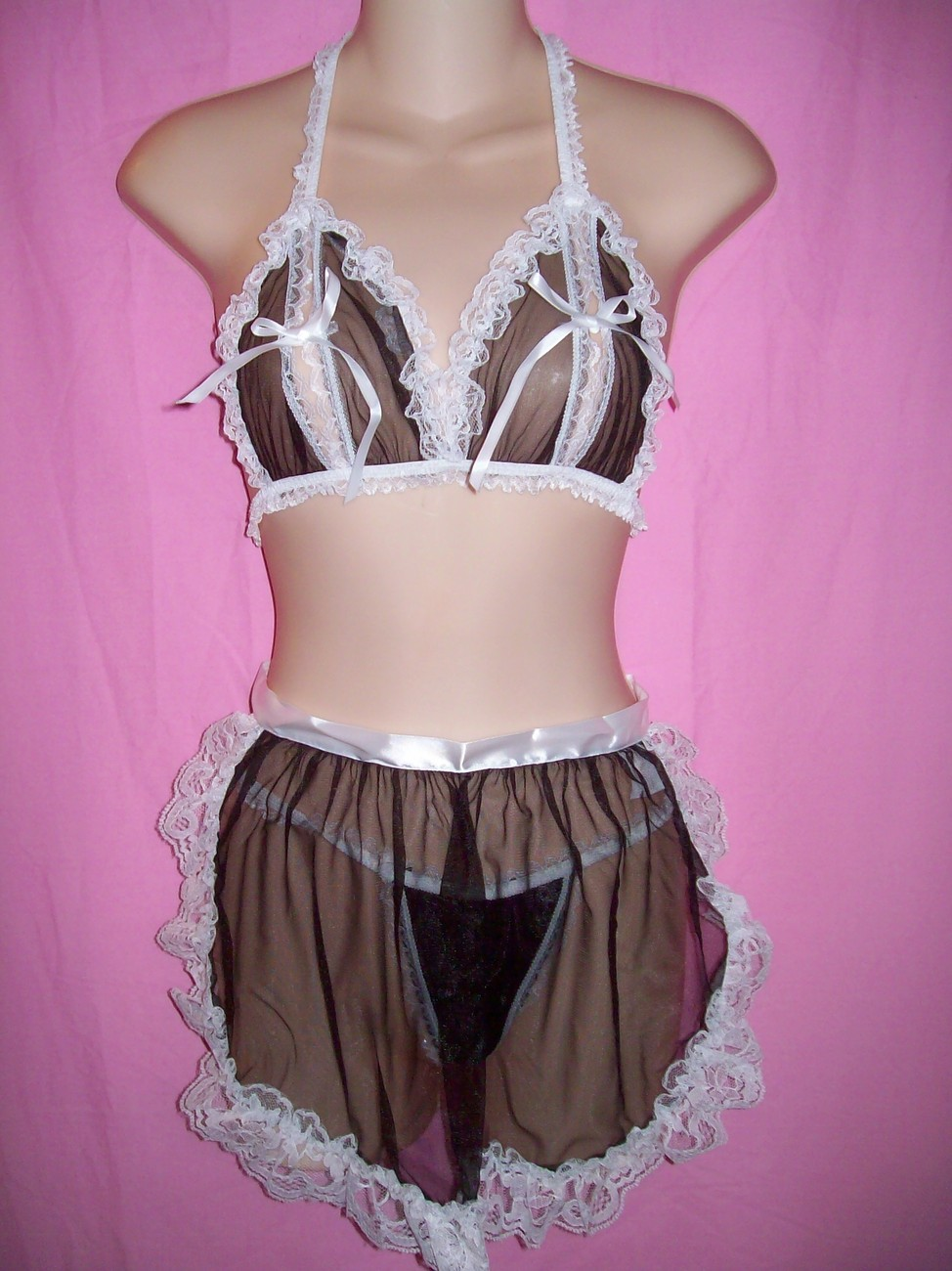 Tease Bodywear Lingerie Sexy Maid For Fun 4 Piece Set : One Size