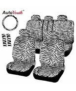 AutoYouth® Short Plush Luxury Zebra Seat Covers Universal Fit Most Car S... - $62.63