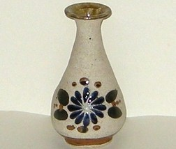 Mexican Cobalt Hand Painted Sand Finish Floral Vase - $9.00