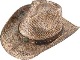 Henschel Australian Hand Stained Raffia Cowboy Hat Leather Band Dark Nat... - $50.00