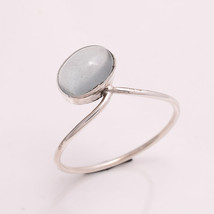 NATURAL AQUAMARINE 6*8 MM OVAL 925 STERLING SILVER 6.5 US RING - £12.93 GBP