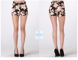 Fashion Women  Black Floral High Waist Short Hot Pants Skinny Slim Fit Casual  - $11.23