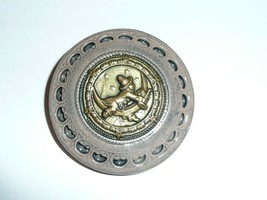 Boy Riding The Moon - Taupe w/ Gold Accents Large Art Stone Shank Button... - $11.77
