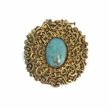 Vintage Max Factor Hypnotique Turquoise Cabochon Solid Perfume Compact - $18.49