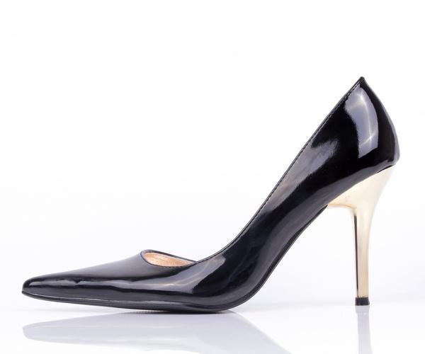 NWT Women's D'Orsay design Black Patent Leather Pointy High Heel Pumps SZ6-8.5