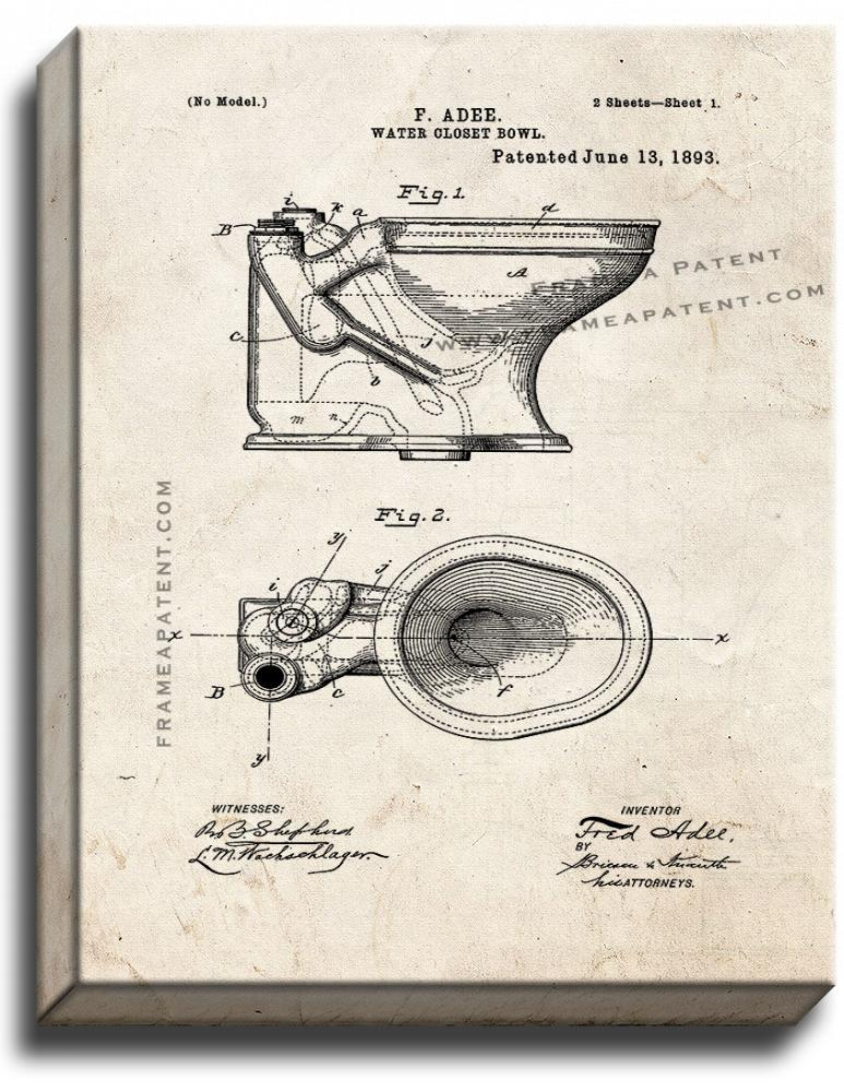 Primary image for Toilet Patent Print Old Look on Canvas