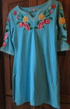 BARBARA GERWIT blue embroidered flowers roses dress size M - €70,22 EUR
