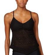 Hula Honey Crochet Tankini Top Women's Swimsuit Black Small - $15.84