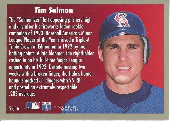 1994 Fleer Award Winners Tim Salmon 5 Angels