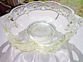Jeanette Glass Scallop Panel Candy Bowl Cabbage Rose Band - $19.20